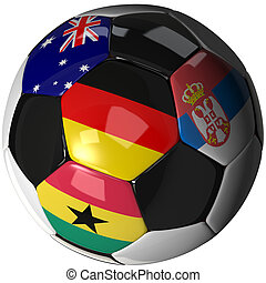 Soccer ball over white with 4 flags - Group D 2010