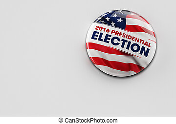 2016 Presidential Election Button - 3D illustration of a...