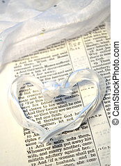 Mark 10:7 with heart (wedding verse) - White ribbon in heart...
