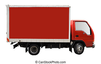 Cargo truck - Blank red truck isolated on a white background