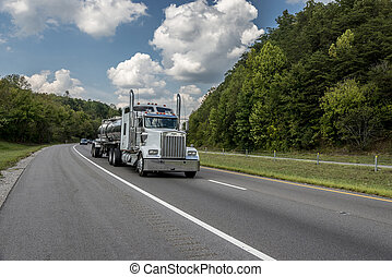 Gasoline Fuel Truck On The Highway - White Gasoline Fuel...