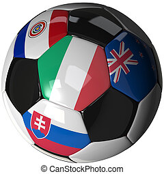 Soccer ball over white with 4 flags - Group F 2010