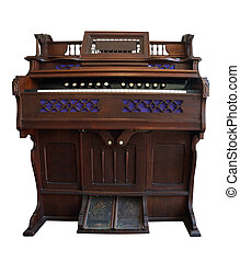 Antique Pedal Organ isolated with clipping path