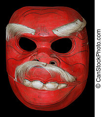 Scary Red Wooden Mask