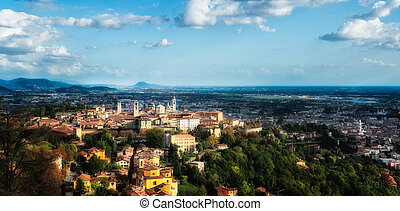 Bergamo Alta (high) - Panoramic view of vittà alta. Bergamo...
