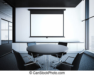 Modern office interior with projector screen. 3d rendering