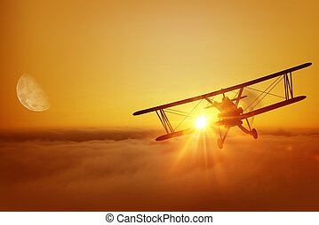 Airplane Flying Adventure - Airplane Above the Clouds During...