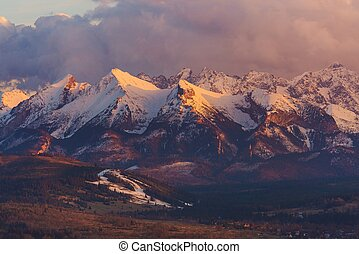 Scenic Tatra Mountain Landscape at Sunset Early Spring in...