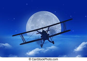 Full Moon Airplane Getaway Abstract Illustration. Flying...