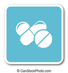 medicine blue square internet flat design icon