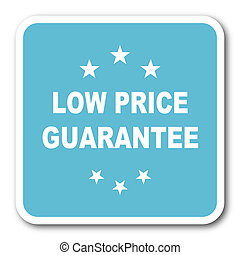 low price guarantee blue square internet flat design icon