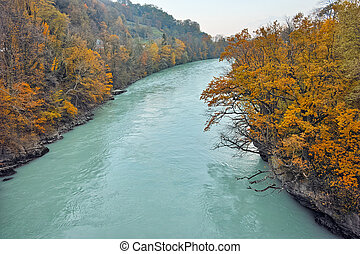 Autumn Landscape of Rhone River - Amazing Autumn Landscape...