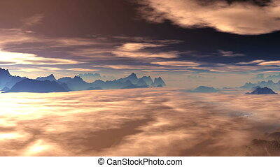 Clouds float over the mountains at - Two layers of clouds...