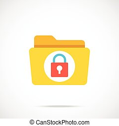 Vector folder and lock icon. Modern flat design vector...