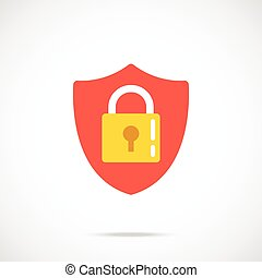 Vector shield and lock icon Modern flat design vector...