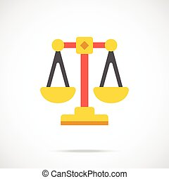 Vector justice scales icon Modern flat design vector...