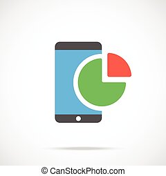 Vector smartphone and chart icon. Modern flat design vector...