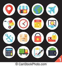 Delivery round flat icons set