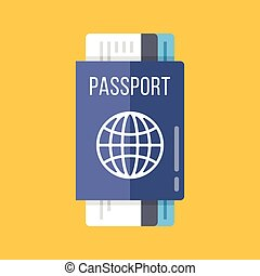 Passport and airline tickets flat