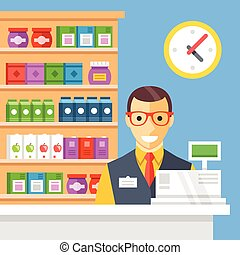 Supermarket checkout and cashier Store counter desk, cash...