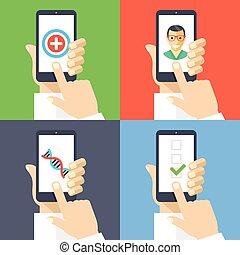 Mobile healthcare smartphones set - Hands with smartphones 4...