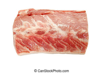 Raw Boneless Organic Pork Roast on White