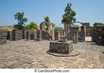 Capernaum on the coast of the lake of Galilee. this is the place where Jesus taught