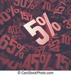 Five Percent Discount - 3D image concept of five percent...