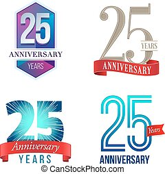 25 Years Anniversary Logo - A Set of Symbols Representing a...