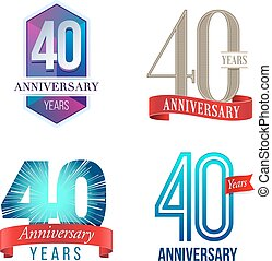 40 Years Anniversary Logo - A Set of Symbols Representing a...