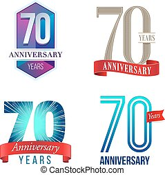 70 Years Anniversary Logo - A Set of Symbols Representing a...