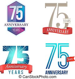 75 Years Anniversary Logo - A Set of Symbols Representing a...