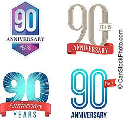 90 Years Anniversary Logo - A Set of Symbols Representing a...