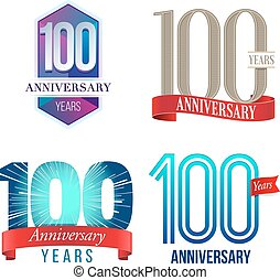 100 Years Anniversary Logo - A Set of Symbols Representing a...