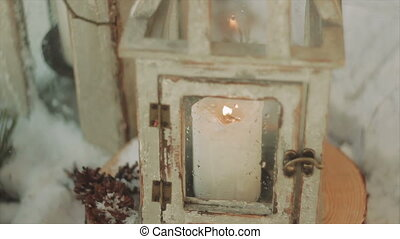 Candle Flame Inside a Lantern Blowing With Wind - Wooden...