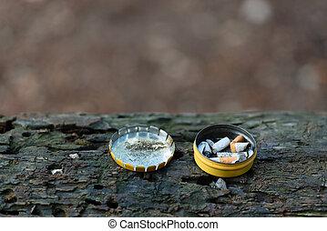 Cigarette butts in box