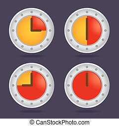 Set of Colorful Time Chronograph Icons - Collection of...