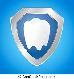 Shield Protecting Tooth Icon - Vector stock of shield...
