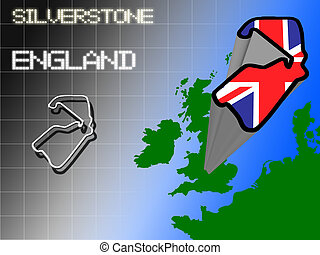 Silverstone - Outline of Silverstone motor racing circuit in...