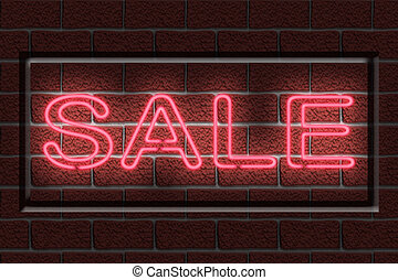 Neon SALE sign - Illustration of a neon sign with the word...