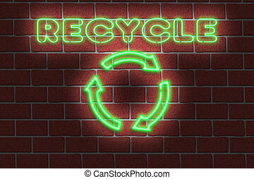 Neon RECYCLE sign - 3D Illustration of a neon RECYCLE sign...