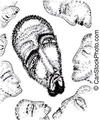 Portrait of a man Sacred vector illustration Mysterious,...