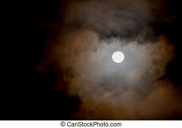 Night Sky, Lunar Eclipse - Night Sky With Full Moon And...