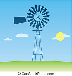 ecology concept: wind-driven generators  illustration