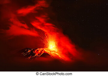 Powerful Explosion Of Tungurahua Volcano At Night, South...