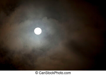 Large Full Moon - Dark Sky With Large Full Moon, Stars And...