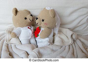 juguete,  teddy, osos, amor, muñeca, dos, oso, Cama, boda