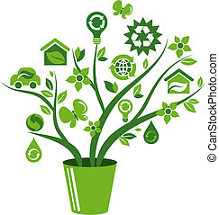 Ecological icons tree - 1 - Green tree with many ecological...