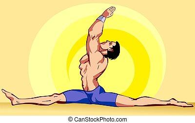yoga man posing