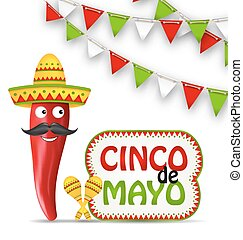 Cinco De Mayo Holiday Background - Illustration Cinco De...